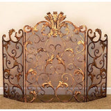 Antique Gold Scroll Leaf Firescreen with Mesh