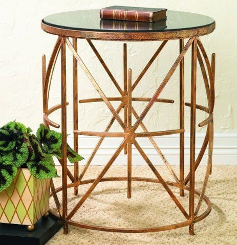 "Antique Gold ""X"" Design Side Table with Black Granite Top"