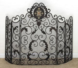 Burnished Gold Monogrammed Five Panel Fire Screen