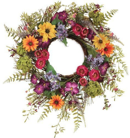 Bright Garden Flower Wreath