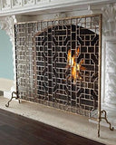 Light Burnished Gold Geometric Design Fire Screen
