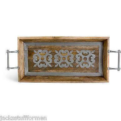 GG Collection Heritage Wooden Tray with Metal Inlay Design