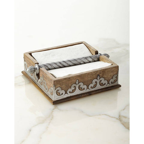 "GG Collection 7"" Wood and Metal Napkin Holder makes napkins feel right at home!"