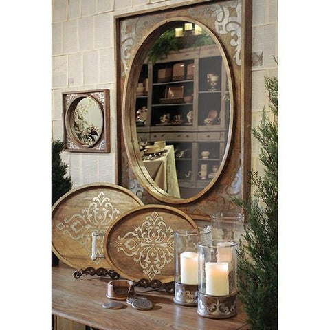 Our beautiful GG Collection wood framed mirrors, with hand laid metal accents. Dark finish with distressed silver trim.