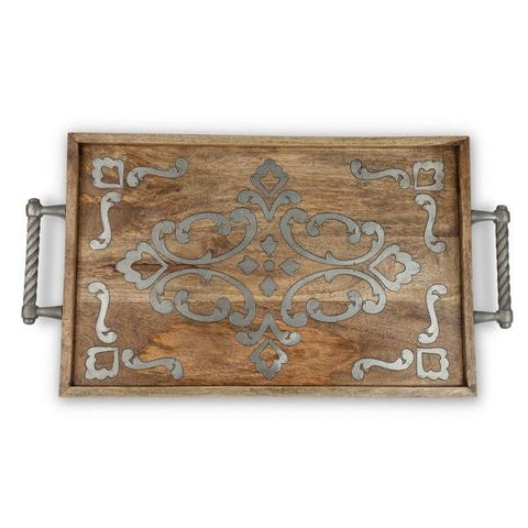 Our GG Collection Heritage beautiful wood with metal inlay Serving/Bed tray is a fabulous addition to your collection.