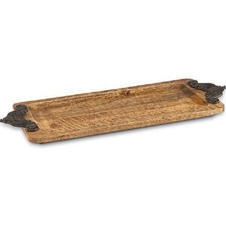 GG Collection Antiquity's Mango Wood Tray w/Metal Handles