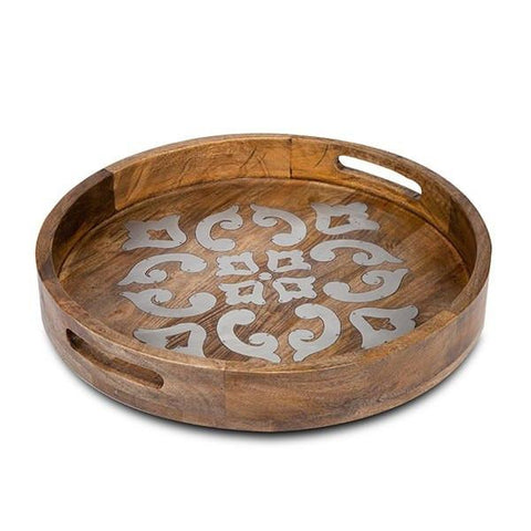 Our old world style to any table with the GG Collection Heritage Wood and Metal Inlay Round Tray.