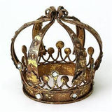Italian Gold Crown with Ball Accents & Clear Stones will add royalty to your home decor.