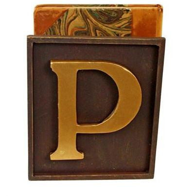 Personalized Brown Gold Iron Bookend with Italian Gold Monogram Single