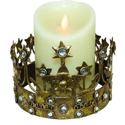 Italian Gold Iron Crown with Stars, Florets and Clear Stones Candle Holder
