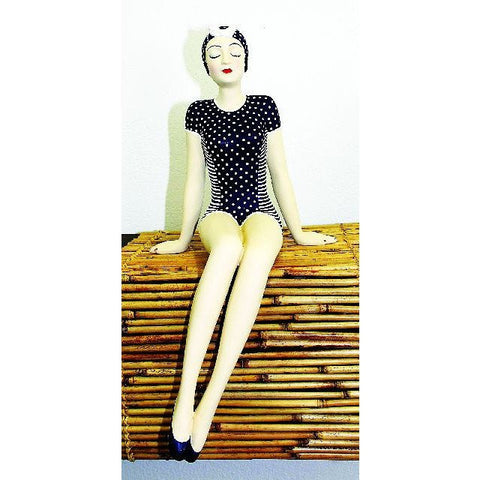 Bathing Beauty in Navy and White Polka Dot Suit