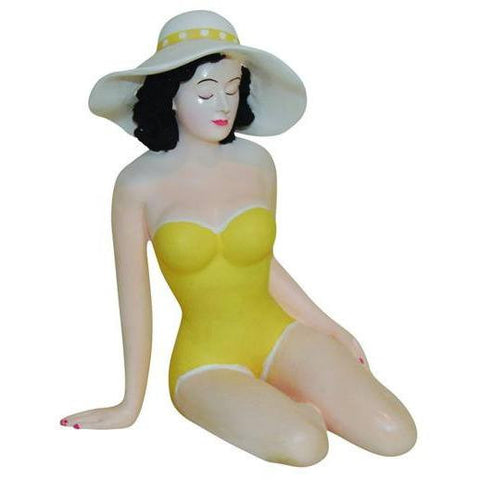 Bathing Beauty in Sexy Yellow Suit with Sun Hat