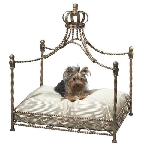 Our Antique Gold Iron Crown Canopy Pet Bed will make your pet feel like royalty!