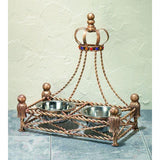 Antique Gold Iron Crown Pet Feeder