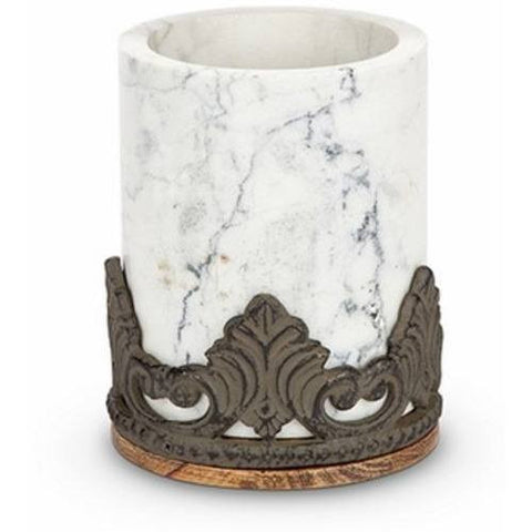 GG Collection Antiquity Marble Chiller Holder with Mango Wood w/Metal Base