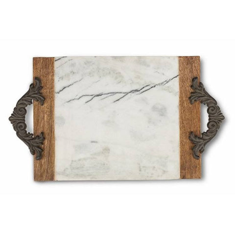 GG Collection Antiquity's Large Marble & Mango Wood Cutting/Serving Board w/Metal Handles