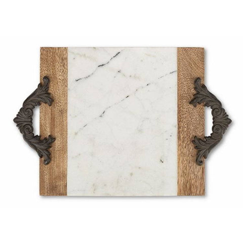 GG Collection Antiquity Medium Marble & Mango Wood Cutting/Serving Board w/Metal Handles