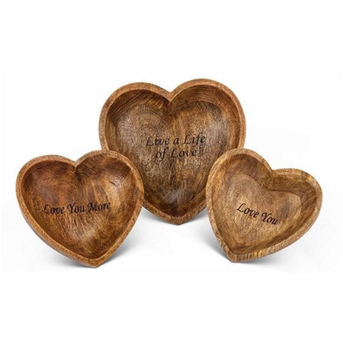 GG Collection Antiquity's Love Heart  Mango Wood Bowls.