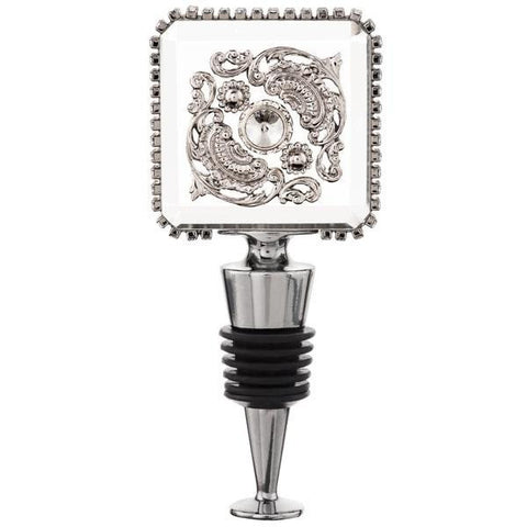 ALC Imperial Filigree Large Crystal Square Wine Bottle Stopper