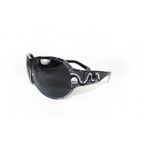 Designer Swarovski Crystal 'MINGLE' Sunglasses Black