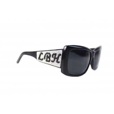 Designer Swarovski Crystal Alpha Sunglasses - Black