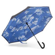 Totes InBrella Automatic Reverse Close Clouds Stick