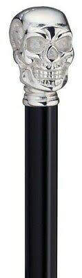Harvy Chrome Skull Handle Flask Walking Stick