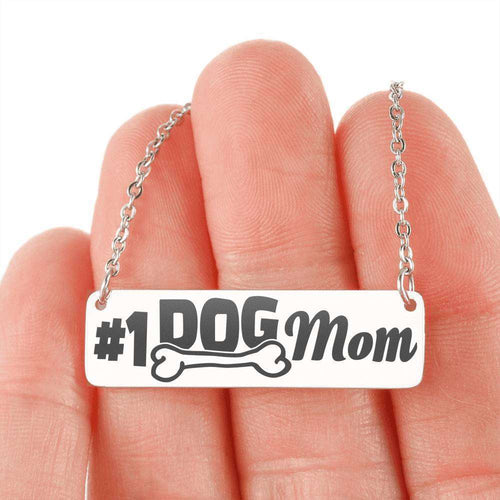 Designs by MyUtopia Shout Out:#1 Dog Mom Engraved Personalized Bar Necklace,Stainless Steel Horizontal Bar Necklace / No,Jewelry