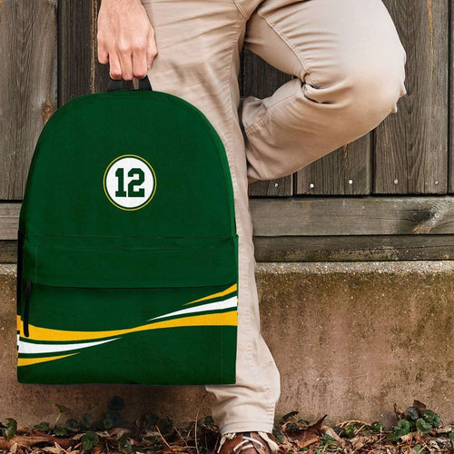 Designs by MyUtopia Shout Out:#12 Green Bay Fan Backpack,Large (18 x 14 x 8 inches) / Adult (Ages 13+) / Green,Backpacks
