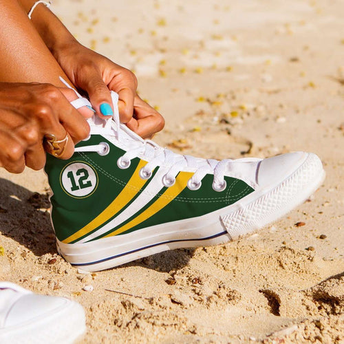 Designs by MyUtopia Shout Out:#12 Green Bay Fan Canvas High Top Shoes,Women's / Ladies 6 (EU36) / Green,High Top Sneakers