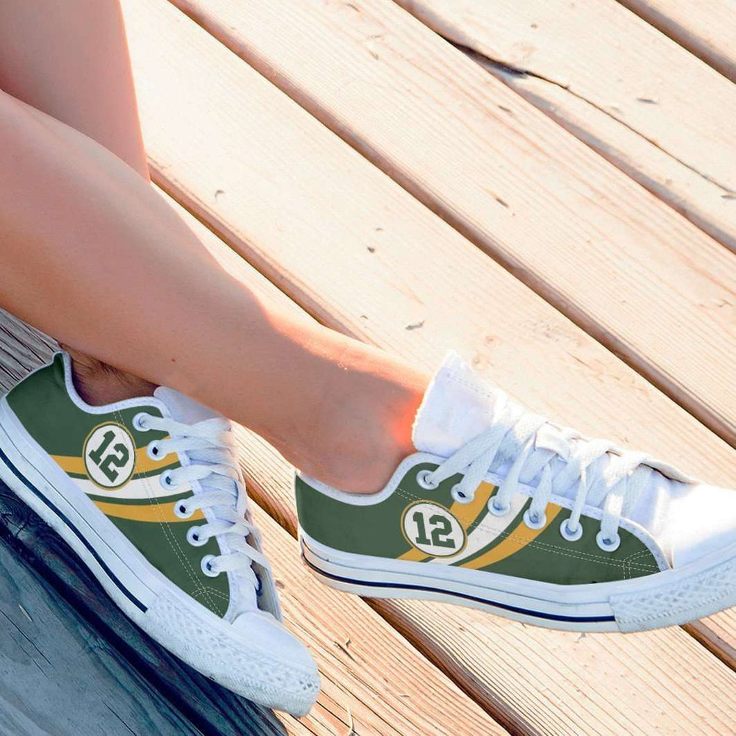 Designs by MyUtopia Shout Out:#12 Green Bay Fan Canvas Lowtop Shoes,Women's / Women's US6 (EU36) / Green,Lowtop Shoes
