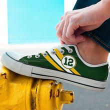 Load image into Gallery viewer, Designs by MyUtopia Shout Out:#12 Green Bay Fan Canvas Lowtop Shoes,Men's / Men's US8 (EU40) / Green,Lowtop Shoes