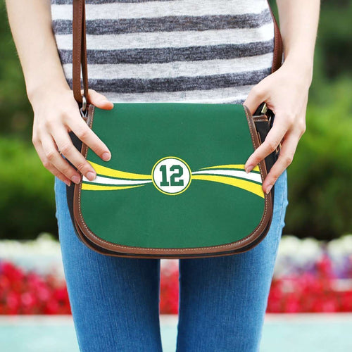 Designs by MyUtopia Shout Out:#12 Green Bay Fan Canvas Saddlebag Style Crossbody Purse