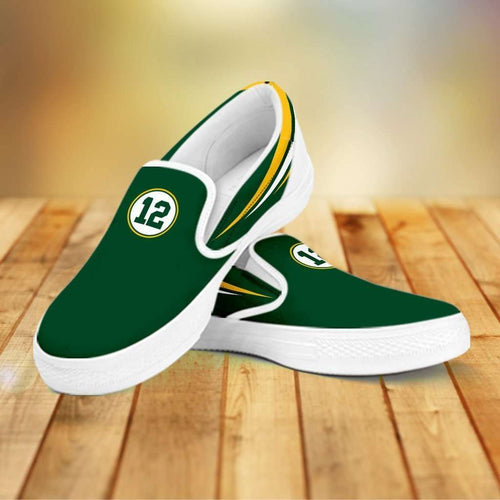 Designs by MyUtopia Shout Out:#12 Green Bay Fan Canvas Slip-on Shoes,Women's / Women's US6 (EU36) / Green,Slip on sneakers