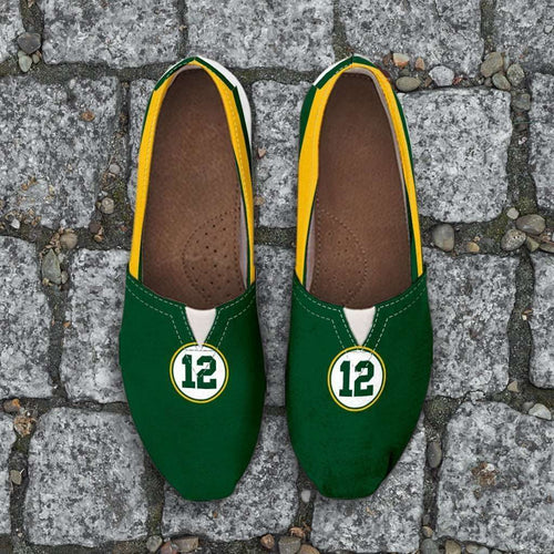 Designs by MyUtopia Shout Out:#12 Green Bay Fan Casual Canvas Slip on Shoes Women's Flats