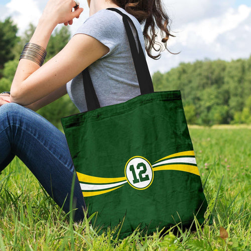 Designs by MyUtopia Shout Out:#12 Green Bay Fan Fabric Totebag Reusable Shopping Tote
