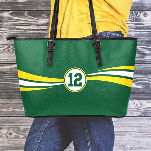 Designs by MyUtopia Shout Out:#12 Green Bay Fan Faux Leather Totebag Purse,Medium (10 T x 16 x 5) inches / Green,tote bag purse