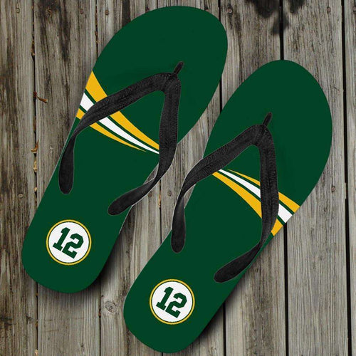 Designs by MyUtopia Shout Out:#12 Green Bay Fan Flip-Flops,Women's / Women's Small (US 5-6 /EU 35-37) / Green,Flip Flops