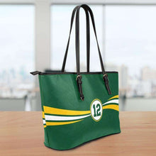 Load image into Gallery viewer, Designs by MyUtopia Shout Out:#12 Green Bay Fan Medium Leather Totebag,10 tall x 16 x 5 inches / Green,tote bag purse