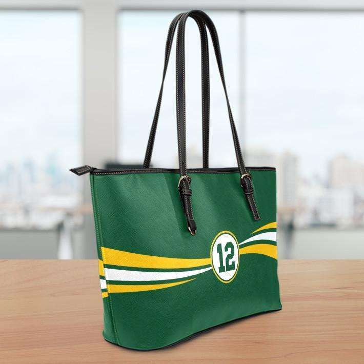 Designs by MyUtopia Shout Out:#12 Green Bay Fan Medium Leather Totebag,10 tall x 16 x 5 inches / Green,tote bag purse