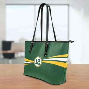 Designs by MyUtopia Shout Out:#12 Green Bay Fan Medium Leather Totebag