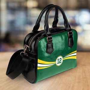 Designs by MyUtopia Shout Out:#12 Green Bay Faux Leather Handbag with Shoulder Strap