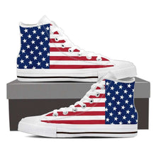 Load image into Gallery viewer, Designs by MyUtopia Shout Out:4th of July American Flag Canvas High Top Shoes,Ladies / Ladies 6 (EU36) / Red/White/Blue,High Top Sneakers
