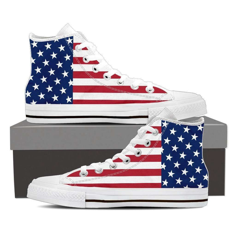 Designs by MyUtopia Shout Out:4th of July American Flag Canvas High Top Shoes,Mens / Mens 8 (EU40) / Red/White/Blue,High Top Sneakers