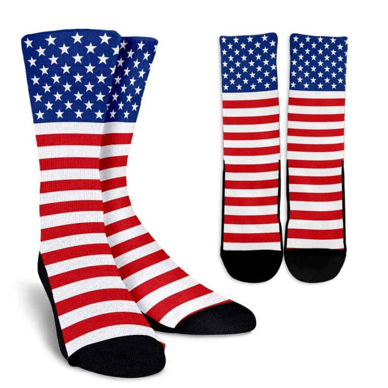 Designs by MyUtopia Shout Out:4th of July Crew Socks,Small/Medium / Red/Blue/White,Socks