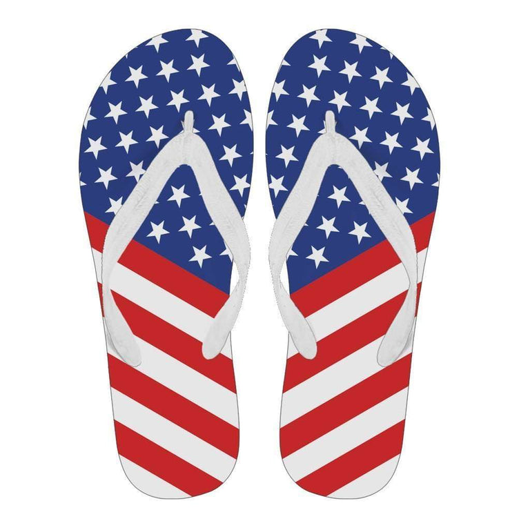 Designs by MyUtopia Shout Out:4th of July Flip Flops - White (U),Ladies / Ladies - Small (US 5-6 /EU 35-37) / Blue/Red/White,Flip Flops