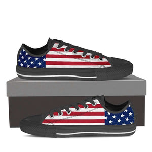 Designs by MyUtopia Shout Out:4th of July Low Top Canvas Sneakers - Black Soles,Ladies / Ladies 6 (EU36),Lowtop Shoes