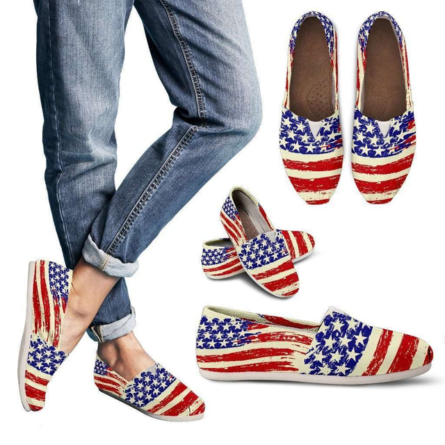 Designs by MyUtopia Shout Out:4th of July Old Glory Flag Casual Canvas Slip on Shoes Women's Flats,US6 (EU36) / Red/Blue/Off-White,Slip on Flats