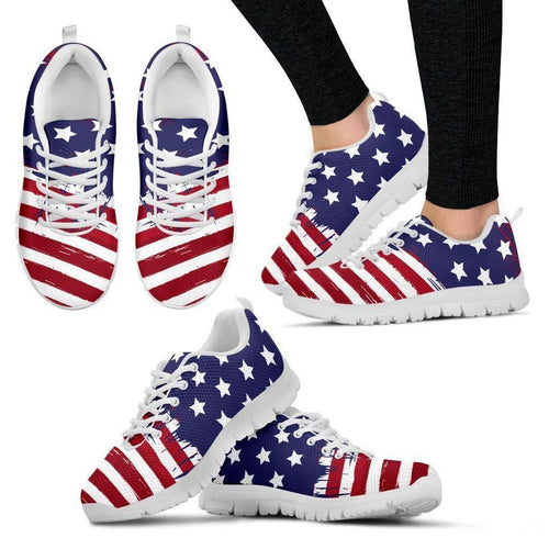 Designs by MyUtopia Shout Out:4th of July U.S. Flag Running Shoes,Womens 5 (EU35) / Red/White/Blue,Running Shoes