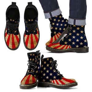 Designs by MyUtopia Shout Out:4th of July Vegan Suede Boots,Mens / Mens 5 (EU38),Lace-up Boots